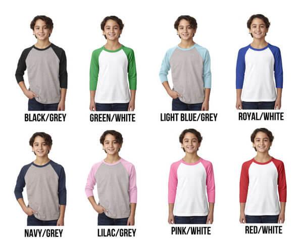 Custom Raglan - Custom Youth Raglan - Custom Kids Raglan - Personalized Raglan T-Shirt - Personalized Youth Raglan Personalized Kids Raglan
