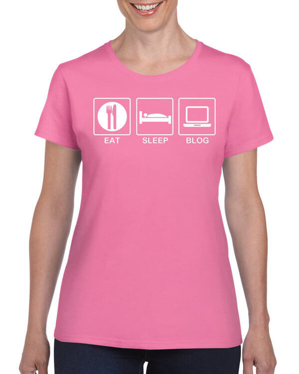 Eat Sleep Blog - Bloggers T-Shirt - Blogging T-Shirt - Many Colors Available - Unisex and Ladies Style!