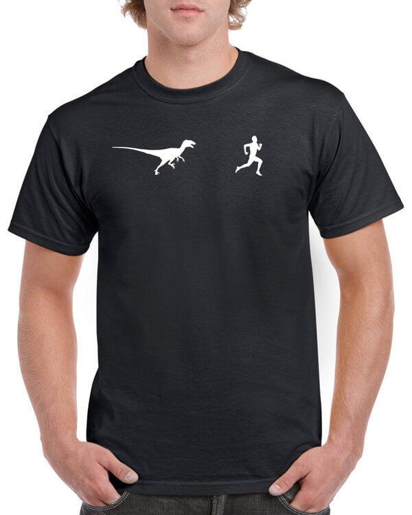 Funny Velociraptor Running Shirt - Funny T-Shirt - Dinosaur T-Shirt - Many Colors Available