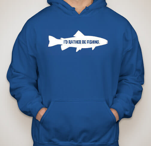 I'd Rather Be Fishing T-Shirt / Fishing Hoodie / Fishing Sweatshirt Angler (many colors + ladies + unisex + hoodie + sweatshirt available)