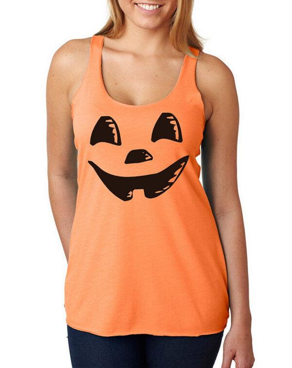 Ladies Halloween Tank Top - Ladies Cute Halloween Tank Top - Ladies Halloween Pumpkin - Pumpkin Tank Top - Halloween Tank Top with a pumpkin