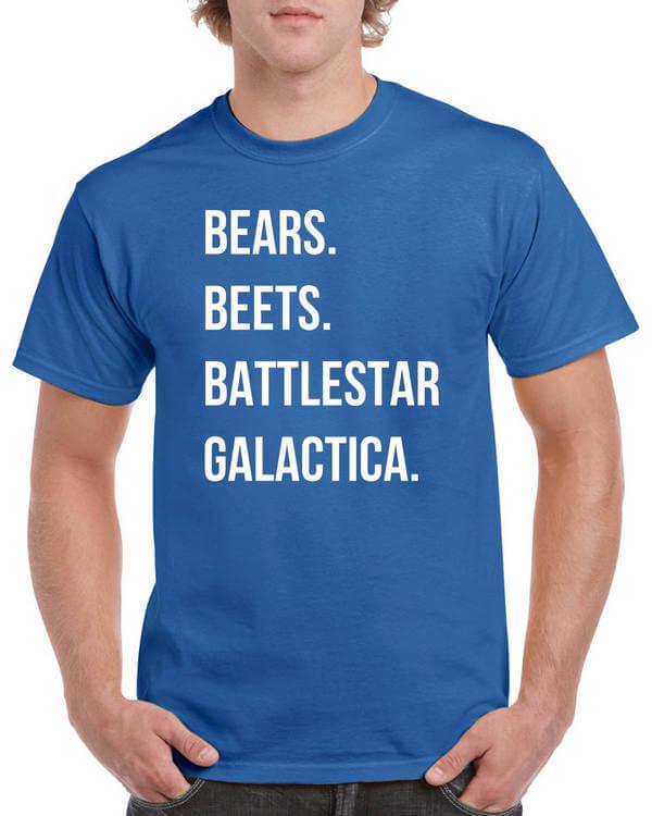 The Office T-Shirt - Bears Beets Battlestar Galactica Shirt - Dunder Mifflin Shirt - Funny Office TV show shirt - Michael Scott T-Shirt